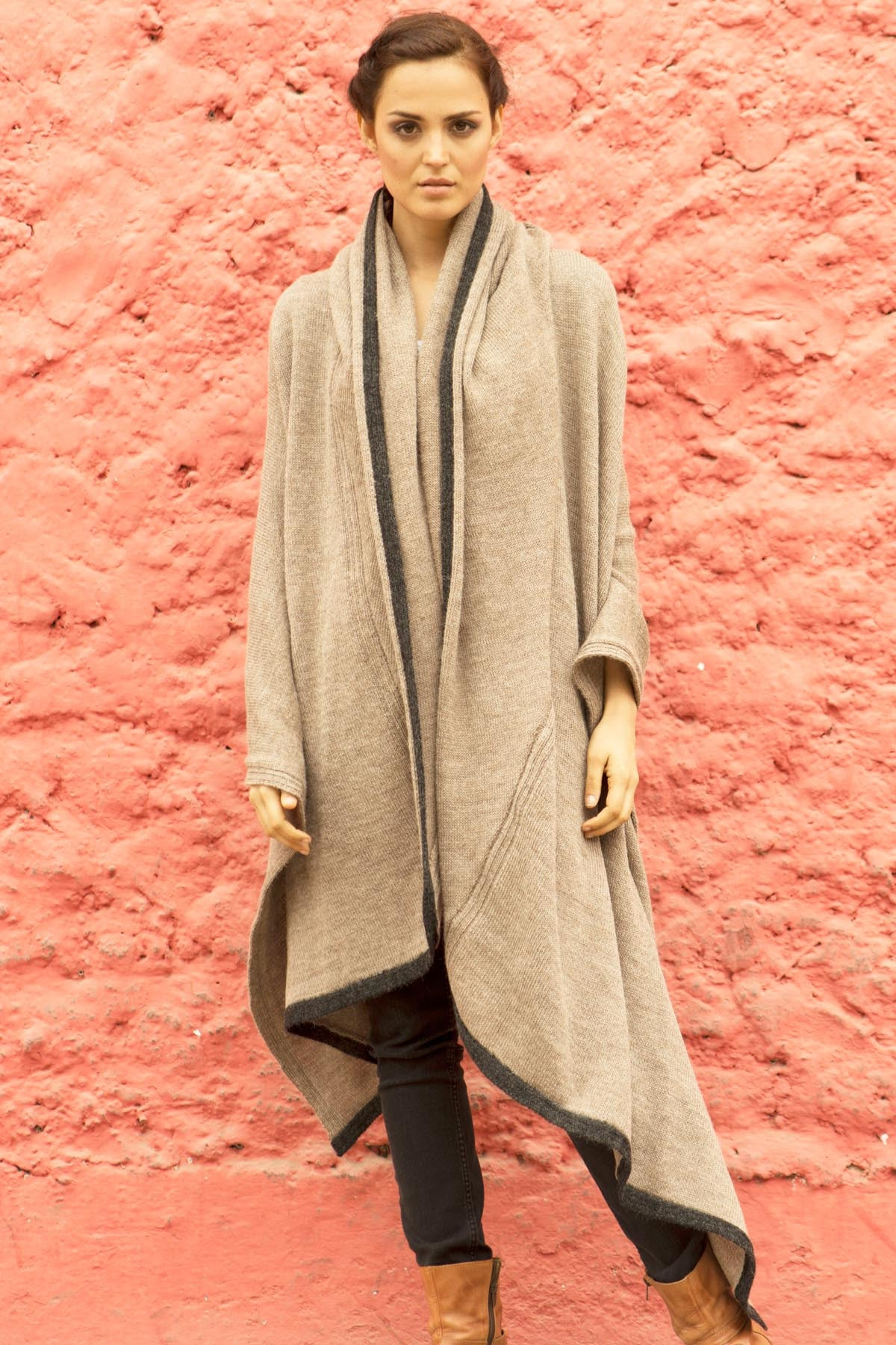 Mocha and Charcoal Hooded Travel Wrap