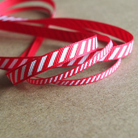 2 metres of Red Candy Cane Ribbon - 3mm and 6mm wide