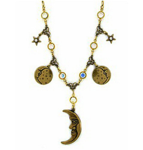 Vintage Style Austrian Crystal Moons + Stars Celestial Charm Necklace
