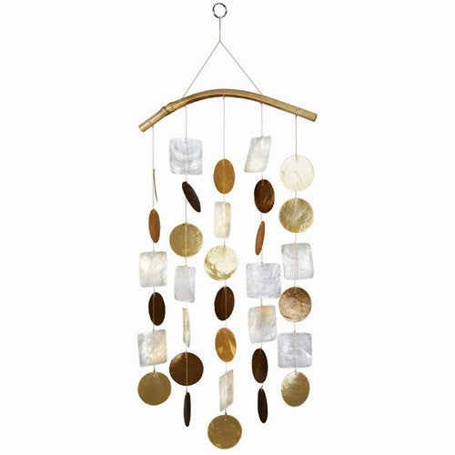 Capiz Shell Windchime -- Gold and Brown with Bamboo Branch