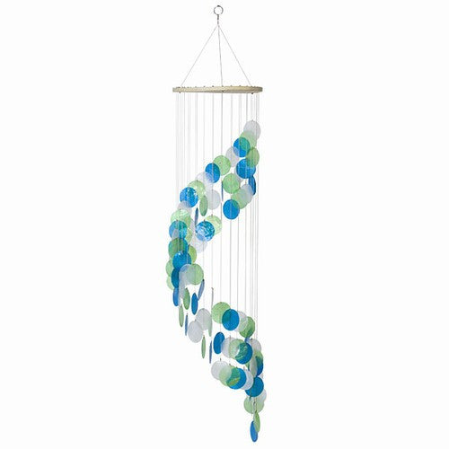 Capiz Shell Windchime -- Green Blue and White Spiral