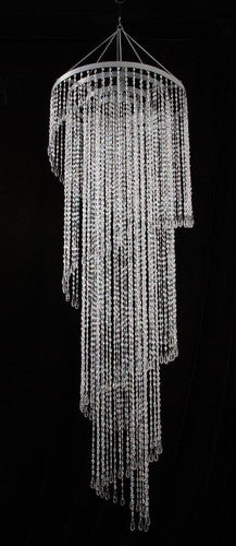 Large 12 Foot Long Beaded Spiral Chandelier -- Clear Beads
