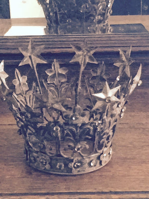 Antiqued Metal Flower + Stars Jeweled Crown