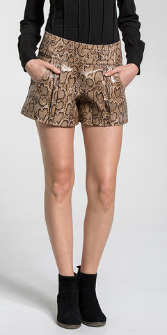 Snake Embossed Foiled Leather Winter Shorts