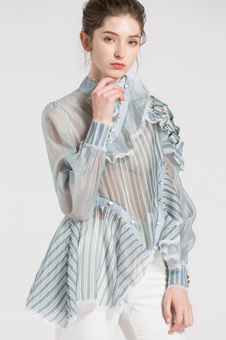 SEE-THROUGH STRIPE LONG SLEEVES BLOUSES WITH TALL COLLAR AND ASYMMETRIC HEM