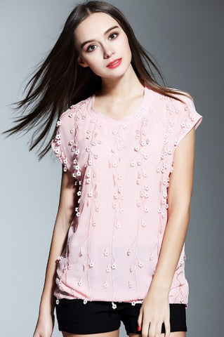 Cap Sleeve Embroidery Silk Top
