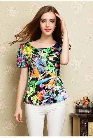 Silk Printed Puffy sleeve Top