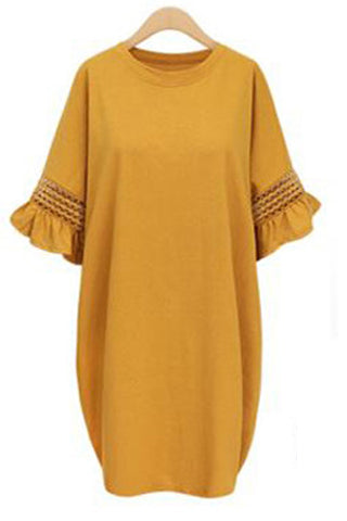 3/4 SLEEVE CREW NECK KNITTED SHIFT DRESS