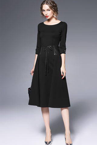 3/4 SLEEVE CREW NECK FLARE DRESS WITH TIE WAIST