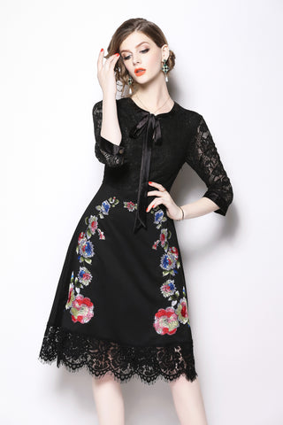 3/4 SLEEVE EMBROIDERY LACE A-LINE DRESS