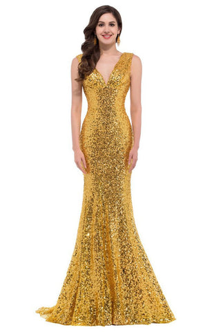 SLEEVELESS DEEP V-NECK SEQUIN FISHTAIL FORMAL DRESS