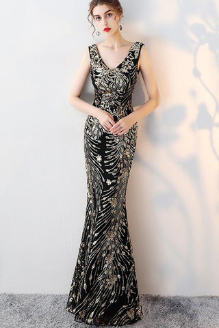 SLEEVELESS DOUBLE V-NECK SEQUIN LONG  FORMAL DRESS