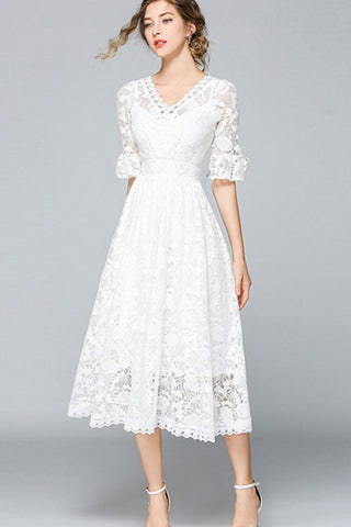 HALF RUFFLE SLEEVE HOLLOW OUT LACE DRESS