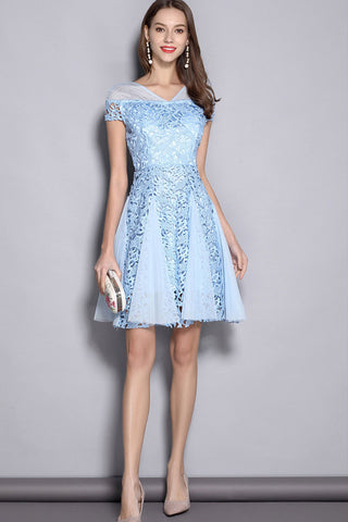 CAP SLEEVE CONTRAST HOLLOW OUT LACE A-LINE DRESS