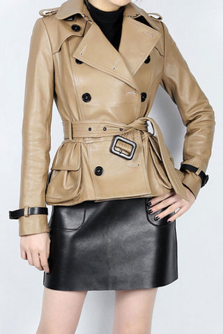 SHEEPSKIN LAPEL COLLAR BELTED OVERCOAT