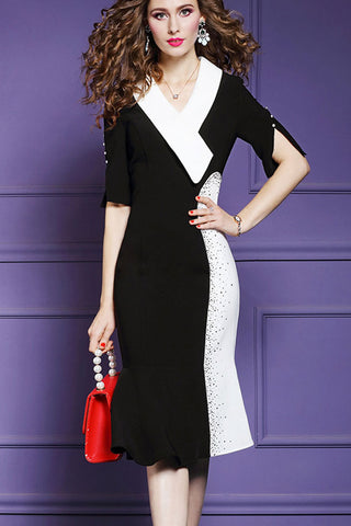 HALF SLIT SLEEVE TURNED OVER COLLAR FISHTAIL HEM SHEATH DRESS