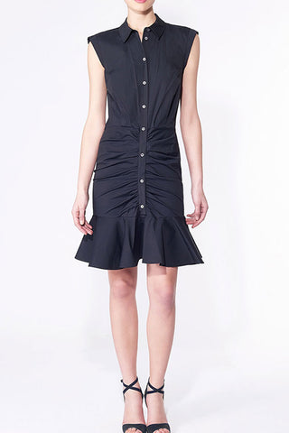 SLEEVELESS BUTTON FRONT FLARE HEM  SHIRT DRESS