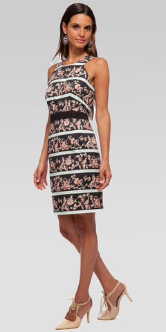 Boarder Floral Eyelet Banded Bodycon Mini Dress