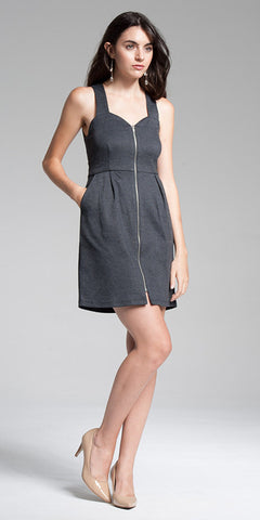 Zippered Front Bodycon Mini Dress
