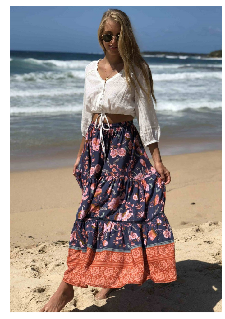 Shareen Collections 'Gypsy' Maxi Skirt in Navy
