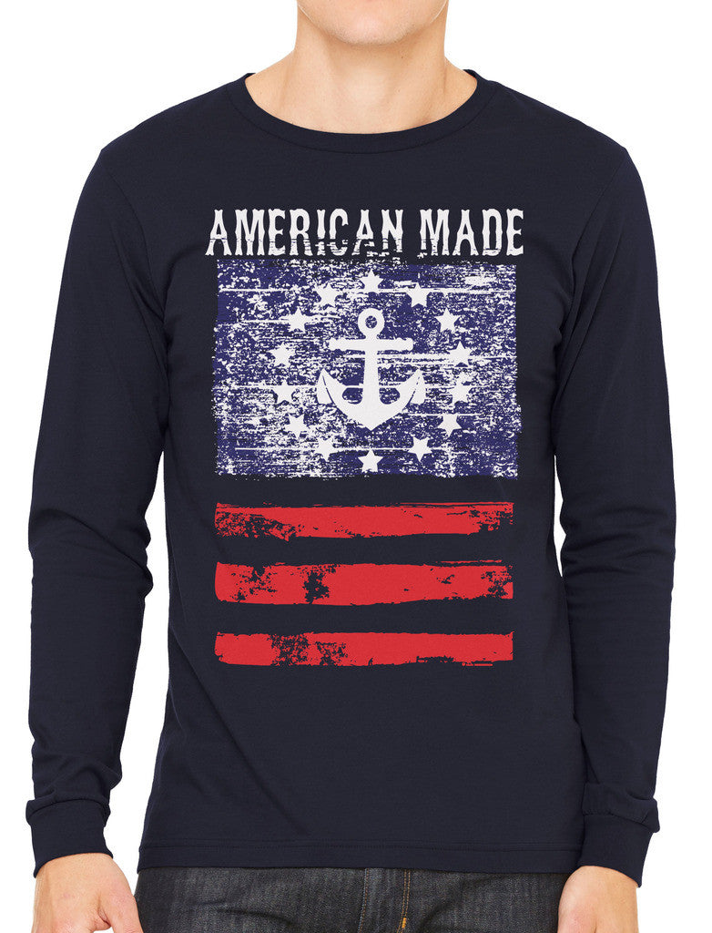 American Made Faded Anchor Flag Men's Long Sleeve T-shirt