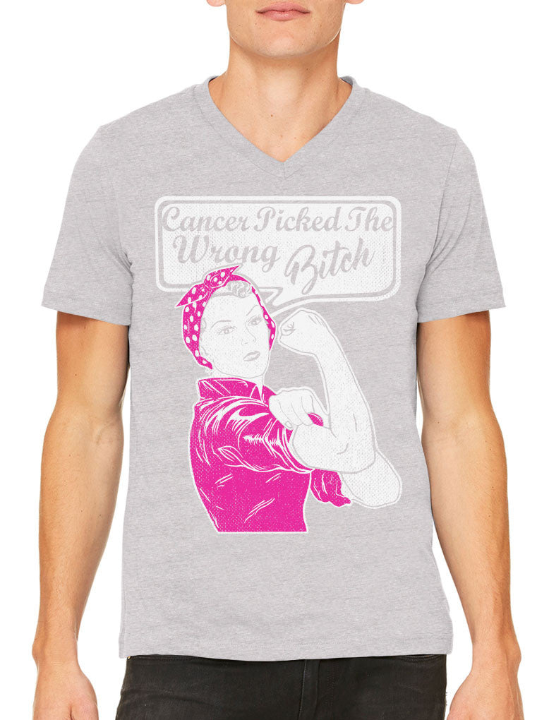 Cancer Picked The Wrong Bitch Men's V-neck T-shirt