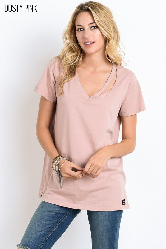 Neck Cutout Detailed Short Sleeve Top - Debs Boutique  LLC