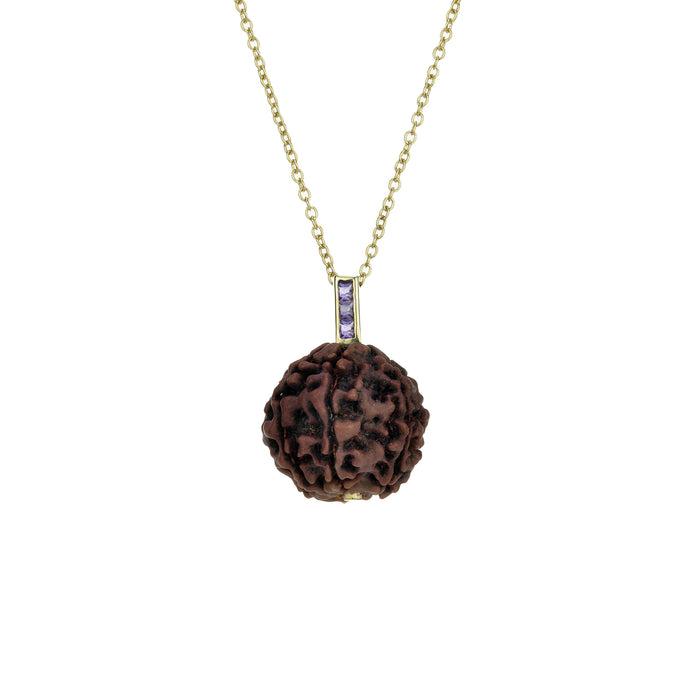 Rudraksha Seed | 14K Gold with Gemstones