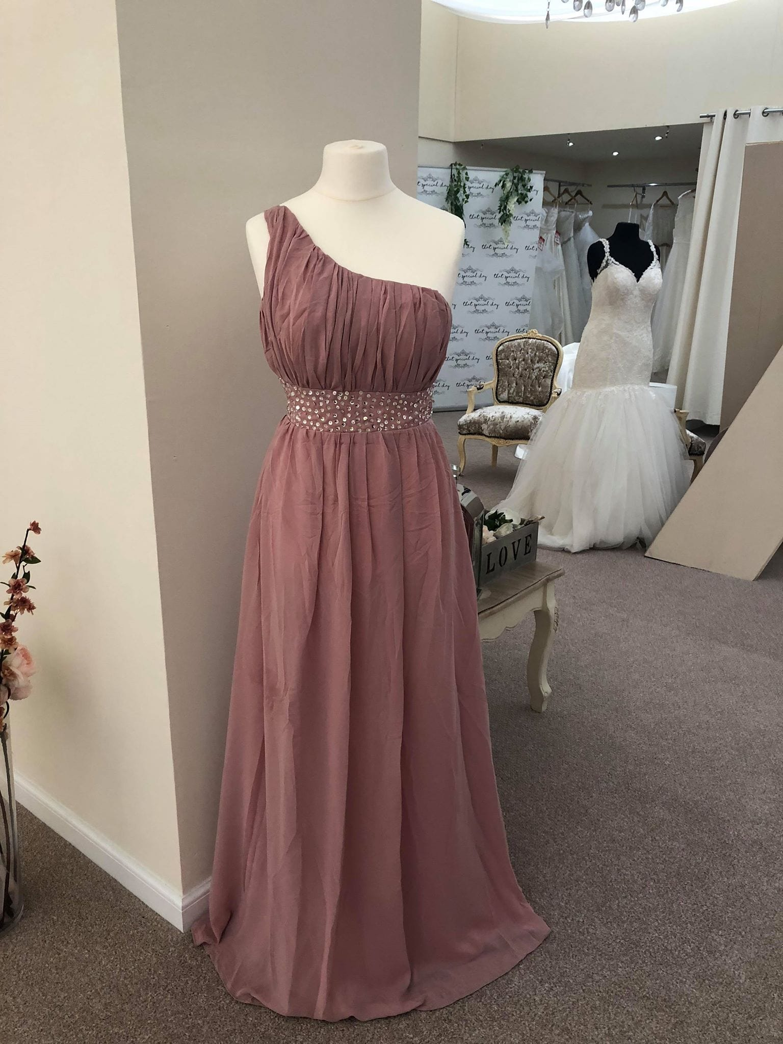 Leah One Shoulder Maxi Bridesmaid Dress With Sequin Belt - That Special Day Bridal Warehouse