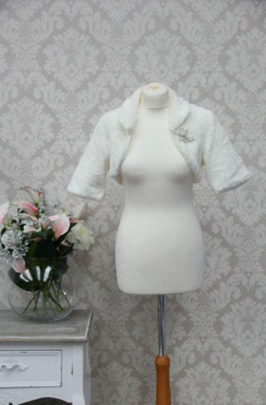 Faux Fur Bolero With Brooch - That Special Day Bridal Warehouse