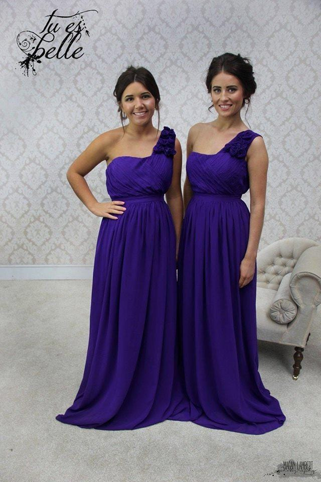 Daisy A-Line One Shoulder Maxi Bridesmaid Dress With Ruffle Sleeve - That Special Day Bridal Warehouse