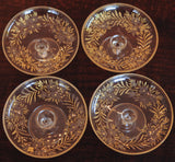 Etched Glass and Enamel Footed Butter Pats Set of 4 - Chestnut Lane Antiques & Interiors - 4