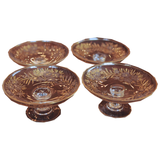 Etched Glass and Enamel Footed Butter Pats Set of 4 - Chestnut Lane Antiques & Interiors - 1