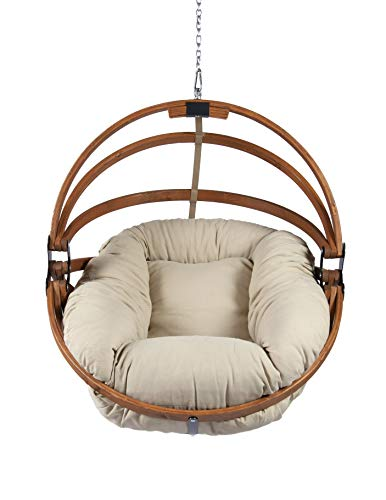 Hammock Hanging Basket Gaya Chair with Fluffy Olefin Cushion: Beige