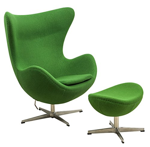 LeisureMod Arne Jacobsen Egg Chair & Ottoman in Green Wool