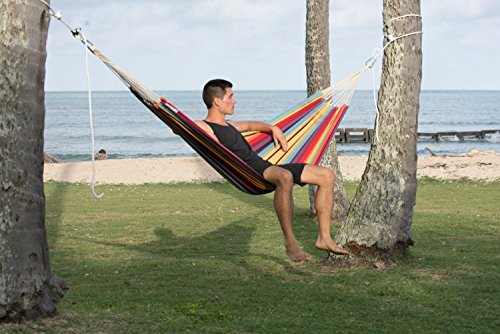 Barbados Single Brazilian Hammock: Rainbow