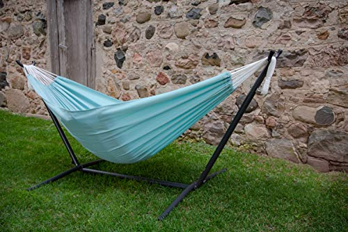 Vivere's Double Polyester Hammock with Stand: Aqua