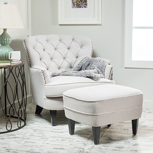 Alfred Tufted Fabric Club Chair with Ottoman: Natural