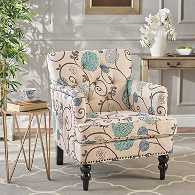 Christopher Knight Home 299127 Harrison Floral Fabric Tufted Club Chair, White/Blue