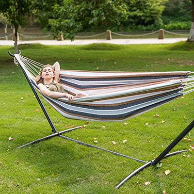 LazyDaze Hammocks Double Hammock With Space Saving Steel Stand Includes Portable Carrying Case, 450 Pound (Desert Stripe)