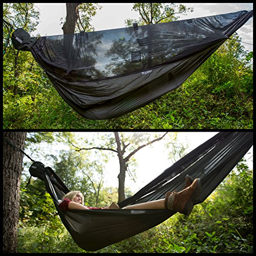 Go Outfitters Go Camping Hammock 2.0 with Built-in Mosquito Net: Slate Gray