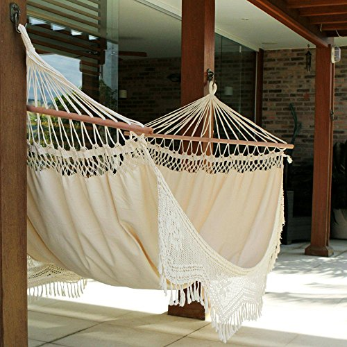 Brazilian Cotton Hammock with Spreader Bars and Crochet Fringe