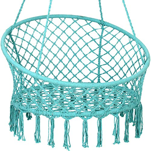 Handwoven Cotton Rope Hammock Chair Macrame Swing with Wall/Ceiling Mount Set