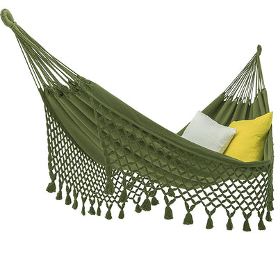 ECOMUNDY 2-Person Premium Classic Hammock with Fringes: Green