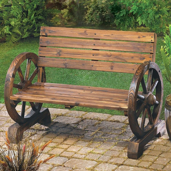 Stagecoach Style Wagon Wheel Garden Bench 12690