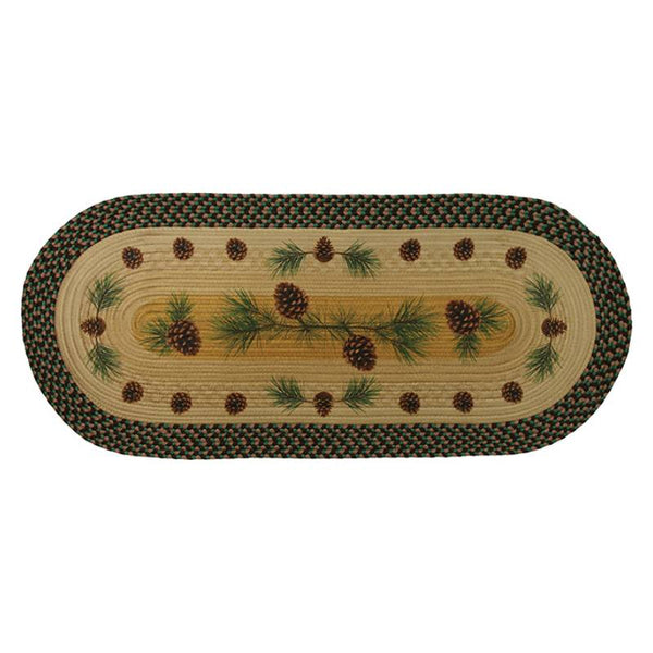 Long Oval Braided Pinecone Rug 2533