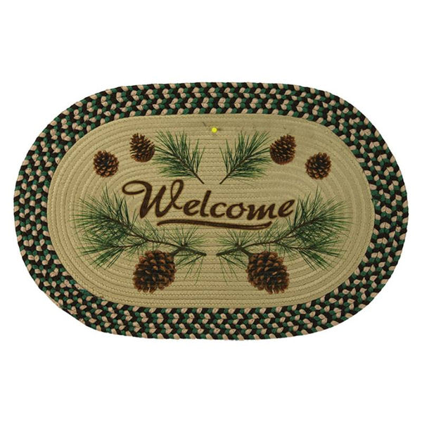 Oval Braided Pinecone Welcome Rug 2523