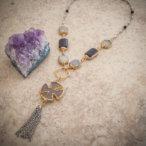 CANTERBURY DRUZY CROSS TASSEL NECKLACE
