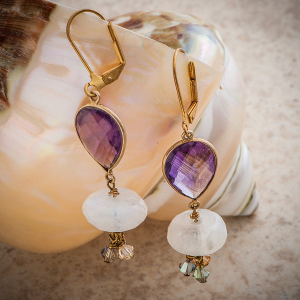 MONARCH AMETHYST & MOONSTONE DANGLING EARRING