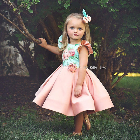 Leila Dress (Peach) - Couture - Itty Bitty Toes